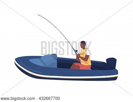 Man In Boat Fishing Semi Flat Color Vector Character. Sitting Figure. Full Body Person On White. Rec