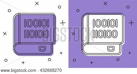 Set Books About Programming Icon Isolated On White And Purple Background. Programming Language Conce