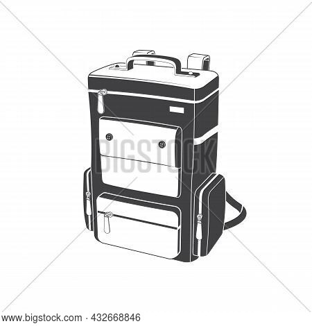 Camping Backpack Silhoutte On White Background. Vector Illustration. Retro Travel Backpack For Campi