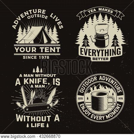 Set Of Travel Inspirational Quotes. Vector Concept For Shirt Or Logo, Print, Stamp Or Tee. Vintage D