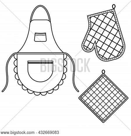 Oven Mitt And Oven Mitt And Apron Hanging On The Rack On Hooks, Black Contour Isolated Vector Illust