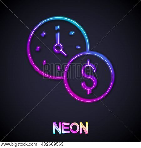 Glowing Neon Line Time Is Money Icon Isolated On Black Background. Money Is Time. Effective Time Man
