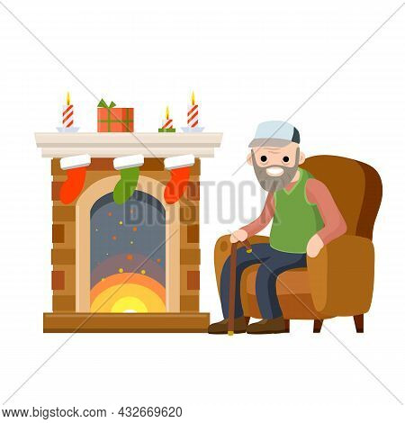 Old Man Sits In Chair By Fireplace. Senior Celebrates New Year And Christmas. Grandpa In Nice Cozy H