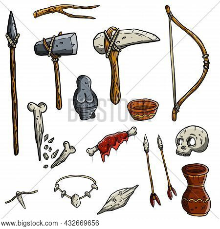 Wild Hunter Weapon. Set Of Tool Prehistoric Caveman. Stone Axe And Bones, A Wooden Spear, Meat, Bow