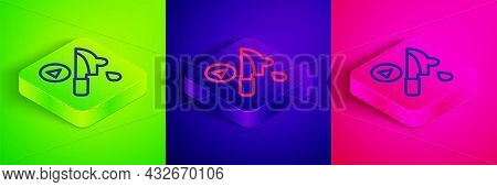 Isometric Line Thriller Movie Icon Isolated On Green, Blue And Pink Background. Bloody Knife. Suspen
