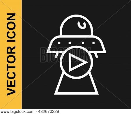 White Line Science Fiction Icon Isolated On Black Background. Sci Fi Movies, Popular Futuristic Fant