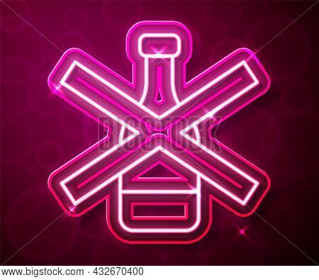 Glowing Neon Line No Alcohol Icon Isolated On Red Background. Prohibiting Alcohol Beverages. Forbidd