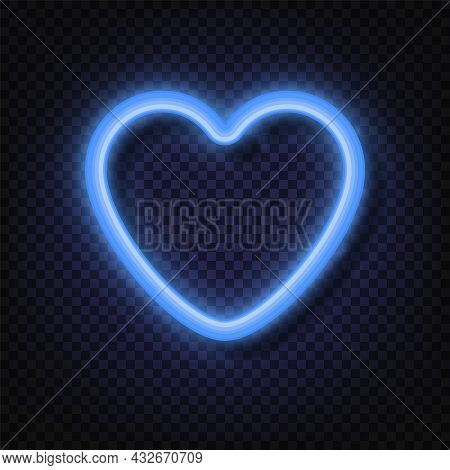 Neon Blue Heart Sign. Neon Light Banners. Realistic Glowing Blue Neon Heart Round Frames Isolated On