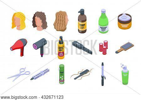 Curly Hair Care Icons Set Isometric Vector. Hair Dandruff. Shampoo Massage