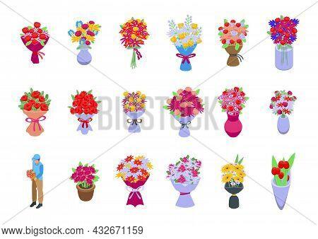 Bouquet Icons Set Isometric Vector. Flower Basket. Vase Bunch