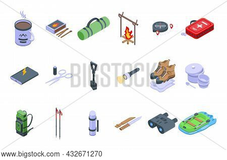 Expedition Icons Set Isometric Vector. Hiker Adventure. Alpine Outdoor