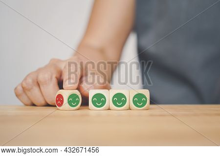 Human Hand's Turning Angry To Happy Face Icon Wood Cube, Change Mood, Temper Control, Mental Health,