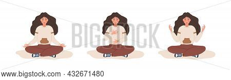 Abdominal Breathing. Woman Practicing Belly Breathing For Good Relaxation. Breath Awareness Yoga Exe