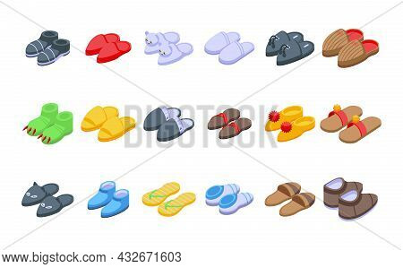 Home Slippers Icons Set Isometric Vector. Foot Accessory. Clothing Comfort