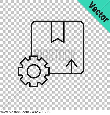Black Line Gear Wheel With Package Box Icon Isolated On Transparent Background. Box, Package, Parcel