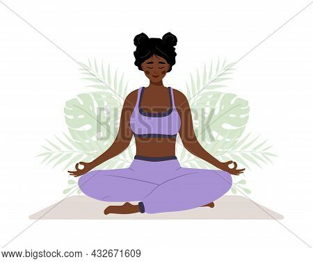 Abdominal Breathing. African Woman Practicing Belly Breathing For Relaxation. Breath Awareness Yoga