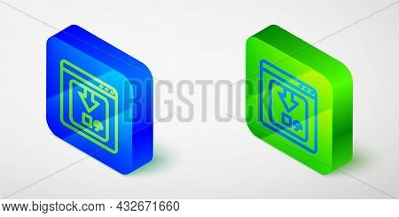 Isometric Line Online App Delivery Tracking Icon Isolated Grey Background. Parcel Tracking. Blue And