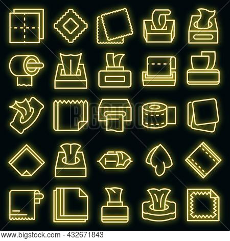 Tissue Icons Set. Outline Set Of Tissue Vector Icons Neon Color On Black