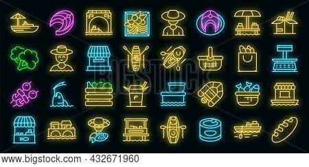Floating Market Icons Set. Outline Set Of Floating Market Vector Icons Neon Color On Black