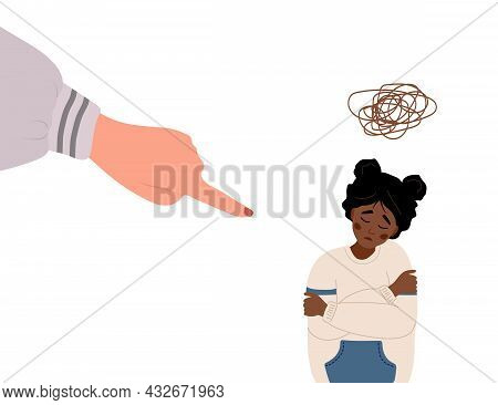 Social Bullying. Finger Pointing On Sad African Girl. Depressed Teenager Sitting On Floor And Crying
