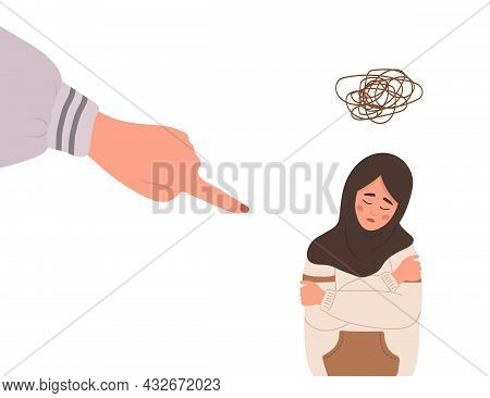 Social Bullying. Finger Pointing On Sad Arab Girl. Depressed Teenager In Hijab Sitting On Floor And