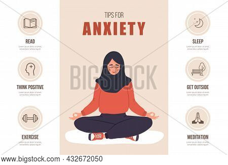 Tips For Anxiety. Mental Health Concept. Happy Islamic Woman In Hijab Meditating In Lotus Position.