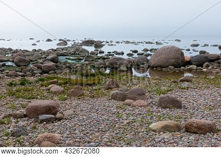 Vivid, Colorful And Bright Background, Scenery. Scene Or View Of Gross Granite Rocks And Stones On T