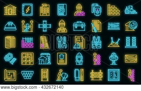 Builder Icons Set. Outline Set Of Builder Vector Icons Neon Color On Black