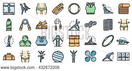 Pilates Icons Set. Outline Set Of Pilates Vector Icons Thin Line Color Flat Isolated On White
