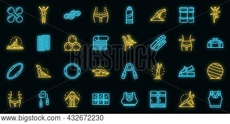 Pilates Icons Set. Outline Set Of Pilates Vector Icons Neon Color On Black