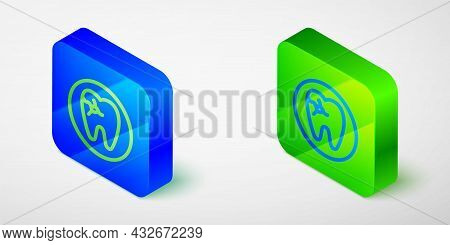 Isometric Line Tooth With Caries Icon Isolated Grey Background. Tooth Decay. Blue And Green Square B