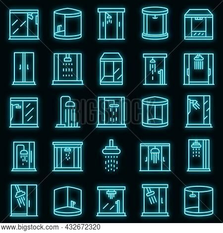 Shower Stall Icons Set. Outline Set Of Shower Stall Vector Icons Neon Color On Black