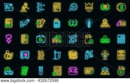 Inheritance Icons Set. Outline Set Of Inheritance Vector Icons Neon Color On Black
