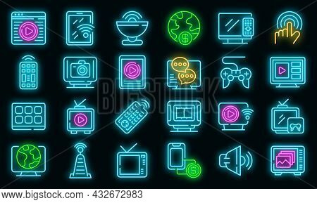 Interactive Tv Icons Set. Outline Set Of Interactive Tv Vector Icons Neon Color On Black