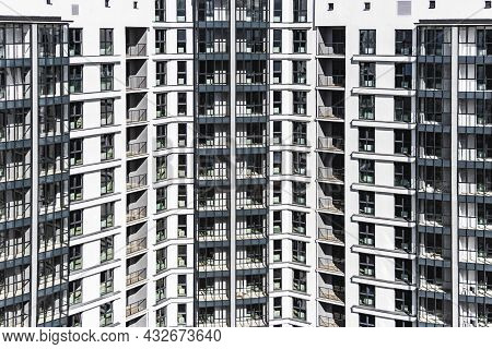 Modern Multi-storey Residential Building. Background From A Multi-storey Modern House. Mortgage Lend