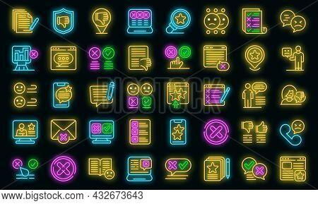 Dislike Icons Set. Outline Set Of Dislike Vector Icons Neon Color On Black