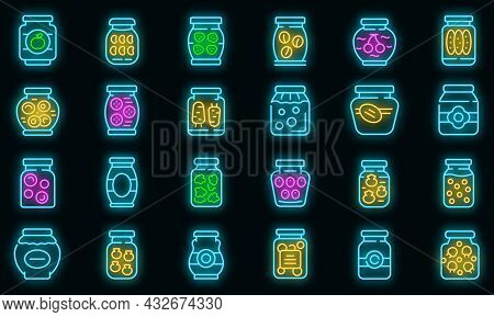 Pickled Products Icons Set. Outline Set Of Pickled Products Vector Icons Neon Color On Black
