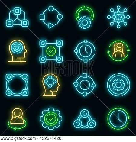 Adapt To Changes Icons Set. Outline Set Of Adapt To Changes Vector Icons Neon Color On Black