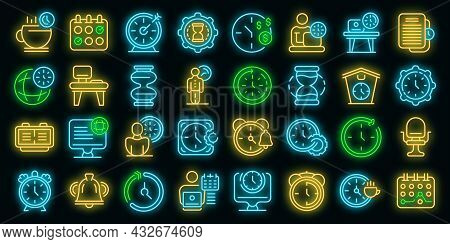 Flexible Working Hours Icons Set. Outline Set Of Flexible Working Hours Vector Icons Neon Color On B