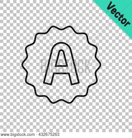 Black Line Exam Sheet With A Plus Grade Icon Isolated On Transparent Background. Test Paper, Exam, O