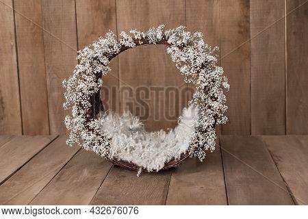 Newborn Digital Background Winter Flowers Basket Prop For Newborn. For Boys And Girls. Wood Back. Sh