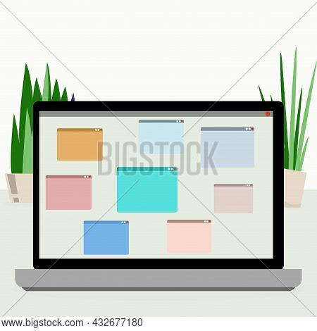 User Interface Application For Distance Conference On Laptop. Corporate Work Concept Using Laptop, C
