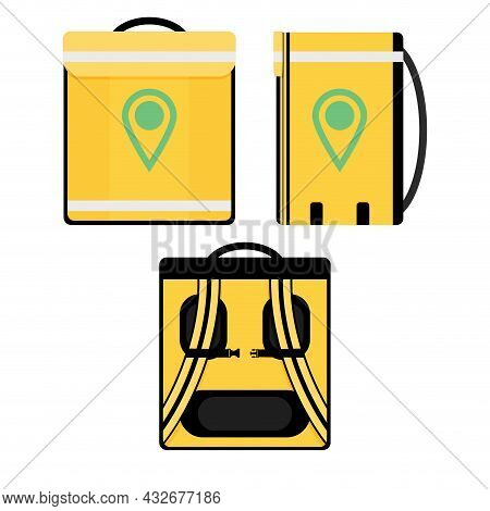 Thermal Bag For Carry Food, Delivery Company For Shipping Order. Courier Bag, Vector Container For F