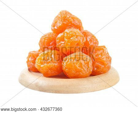 Dried Apricot Plum Fruits(preserved Fruits Or Dried Honey Chinese Plum) On White Background