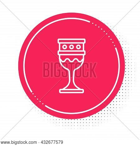 White Line Medieval Goblet Icon Isolated On White Background. Holy Grail. Red Circle Button. Vector