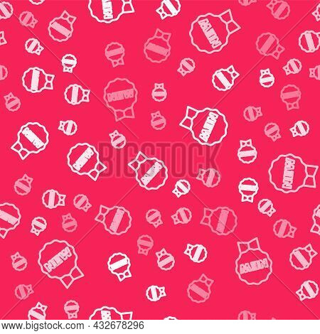 White Line Price Tag With An Inscription New Icon Isolated Seamless Pattern On Red Background. Badge