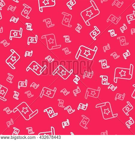 White Line Paper Check And Financial Check Icon Isolated Seamless Pattern On Red Background. Paper P