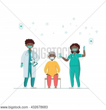 Covid-19, Coronavirus People Vaccination Poster. A Nurse Checks The Health Of An Old Man Before Vacc
