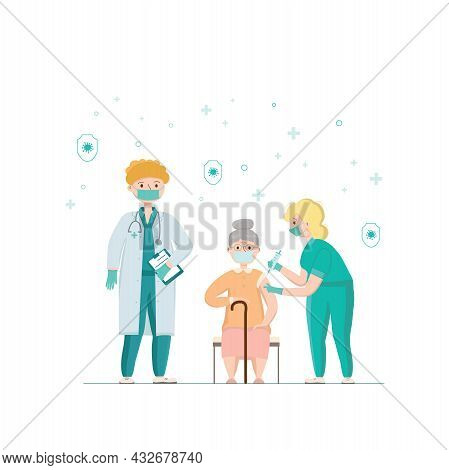 Covid-19, Coronavirus People Vaccination Poster. Elderly Woman Got A Vaccine From A Doctor, Nurse. V