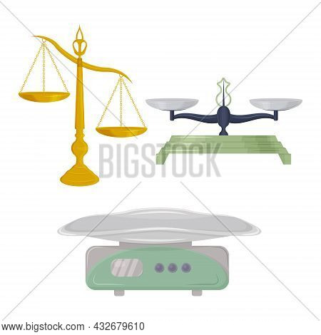 Scales Of Various Shapes And Purposes. Libra Of Themis. Jewelry Scales And Medical Scales For Weighi